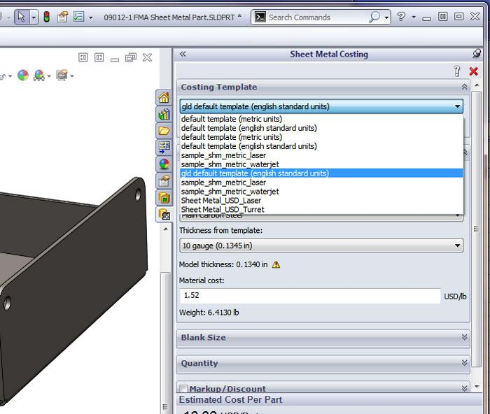 3 d cad setting up a costing tool the fabricator. Black Bedroom Furniture Sets. Home Design Ideas