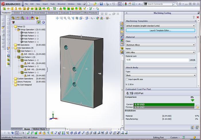 3-D CAD: Setting up a costing tool