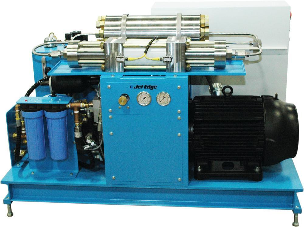 30-HP waterjet intensifier pump draws half the amperage of a 50-HP pump - The Fabricator