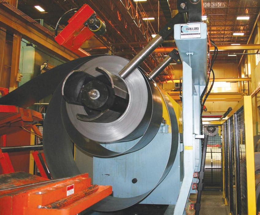 Auto Stamper Gets Two Coil Feed Lines For The Size Of One