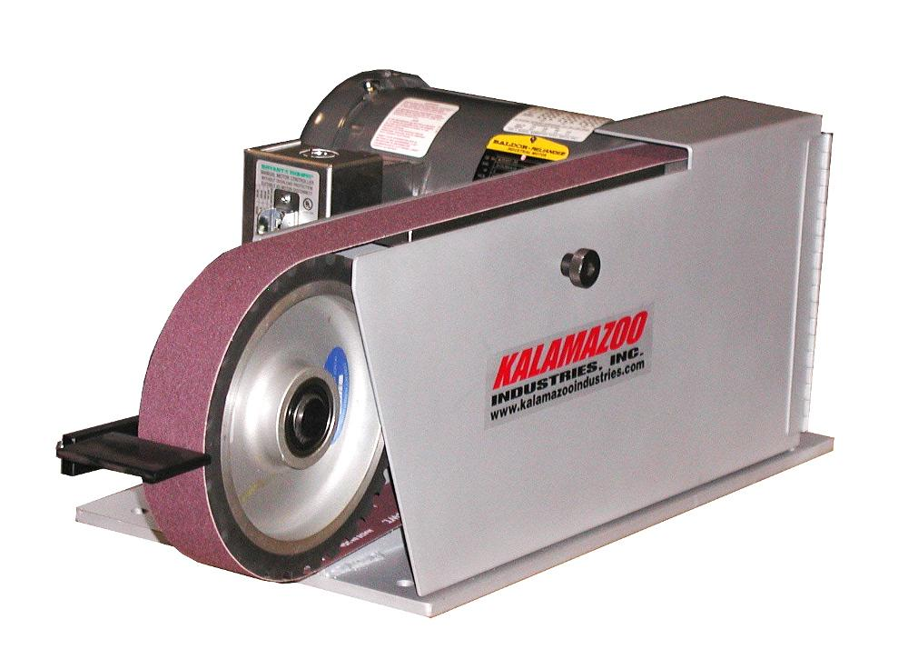 kalamazoo belt grinder. the model bg260 belt grinder from kalamazoo industries is a heavy-duty, direct-drive unit with an 8- by 2-in. and 8-in. contact wheel clear r