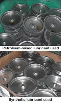 Synthetic lubricants on parts