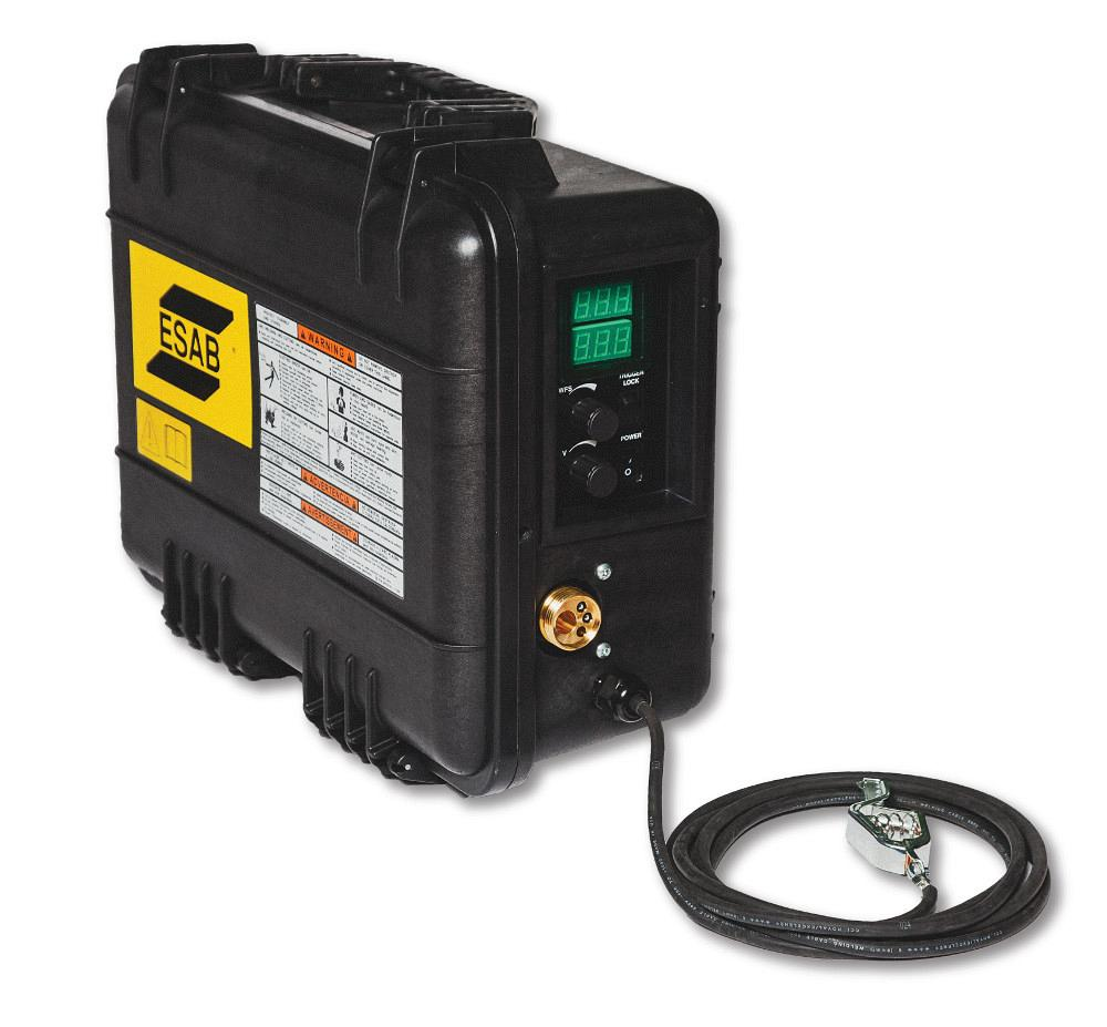 ESAB Welding & Cutting Products offers the new MobileFeed 201AVS, a  suitcase-style portable wire feeder. The machine is designed to provide  even, ...