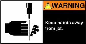 Jet cutting hazard sign