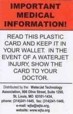 Waterjet medical card