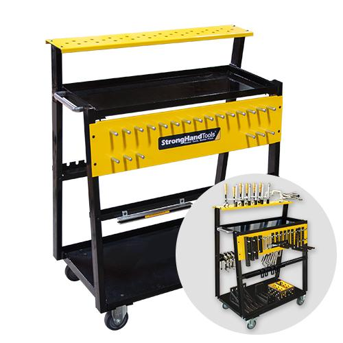 Tool cart keeps modular fixturing clamps and components