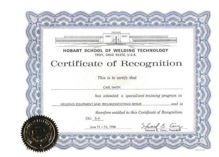 Hobart Welding Certificate