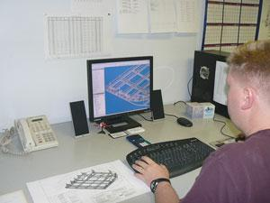 Engineer using autocad